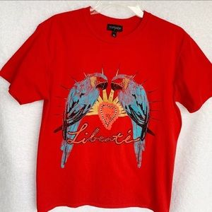 Top Shop Red Parrot Tee Shirt With Bling Size L UK